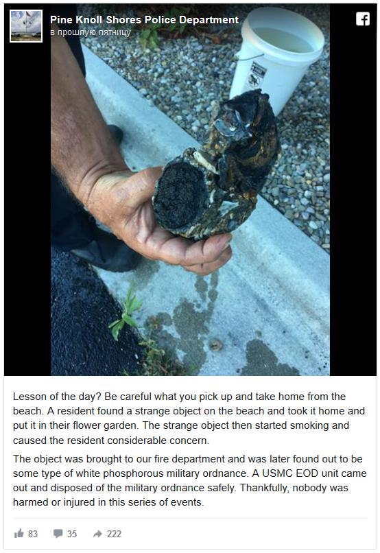Опасная находка: необычный камень с пляжа оказался фосфорной шашкой Интересное